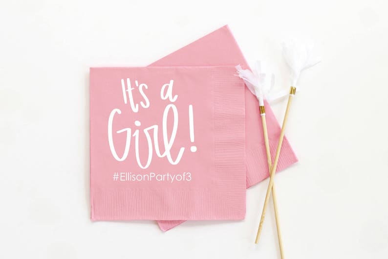 Baby Shower Napkins Girl Baby Shower Decorations Personalized Napkins for Baby Shower It/'s a Girl Beverage Napkins