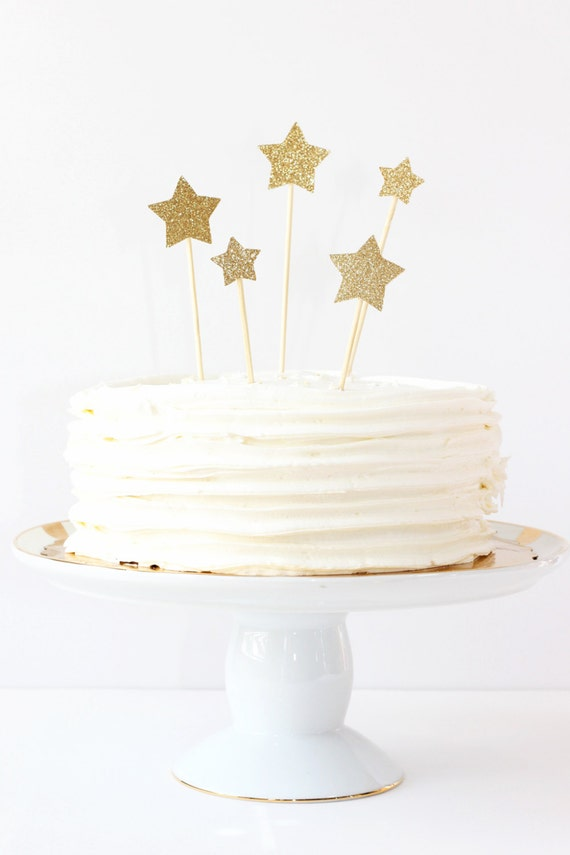 Gold Glitter Star Cake Toppers Wedding Decorations