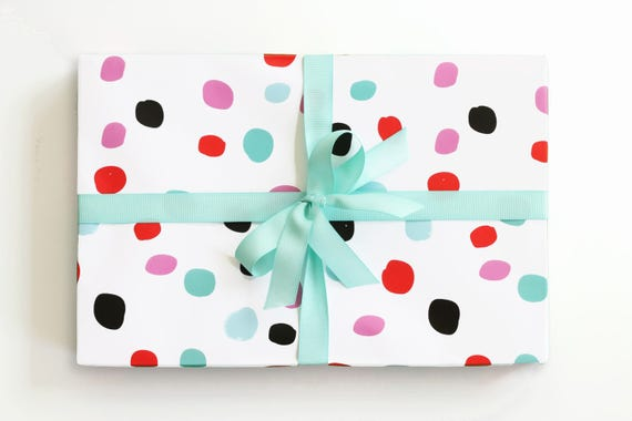 Polka Dot Wrapping Paper Colorful Gift Wrap Hand Drawn Etsy