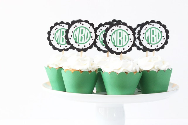 monogram cupcake toppers green and black birthday party supplies polka dot letter cupcake toppers girls birthday