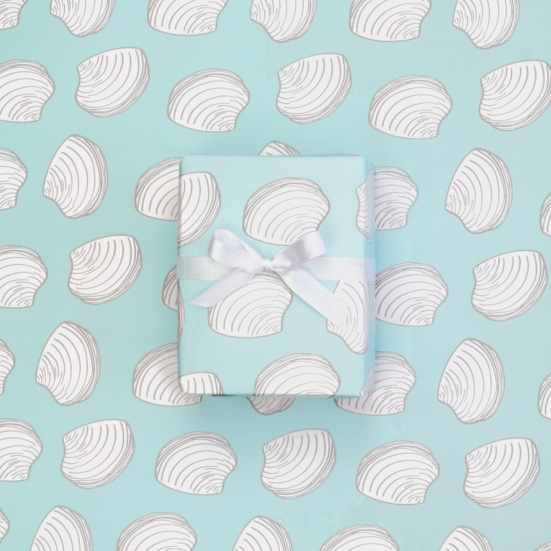 Ready to Ship Beach Wrapping Paper Sheets Oyster Clam Pattern Gift Wrap Summer Birthdays