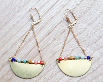 Rainbow earrings, Half Moon Half Circle Dangle Earrings, Rainbow Jewelry, Statement Modern earrings, christmas gift for her