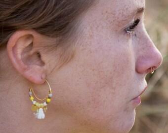 Yellow hoop earrings with tassels, beaded hoop earrings, yellow earrings, tassels earrings, summer earrings