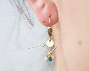 dainty square earrings, small geometric earrings emerald and pink, tiny rhombus earrings, delicate earrings, pastel earrings