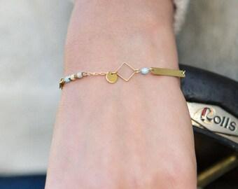 dainty rhombus bracelet, delicate chain bracelet, pastel blue and grey bracelet, dainty jewelry, minimal bracelet, bar bracelet