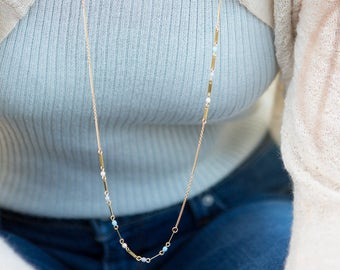 dainty long chain necklace/ pastel blue and gold long necklace/ bar necklace/ contemporary long necklace/ minimalist long necklace