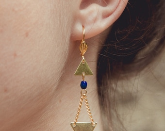 gold and navy geometric earrings, triangle earrings, navy earrings, geometric jewelry, arrows shape earrings, triangle jewelry