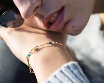 dainty rhombus bracelet, delicate chain bracelet, emerald and pink dainty bracelet, minimal bracelet, bar bracelet, tiny chain bracelet