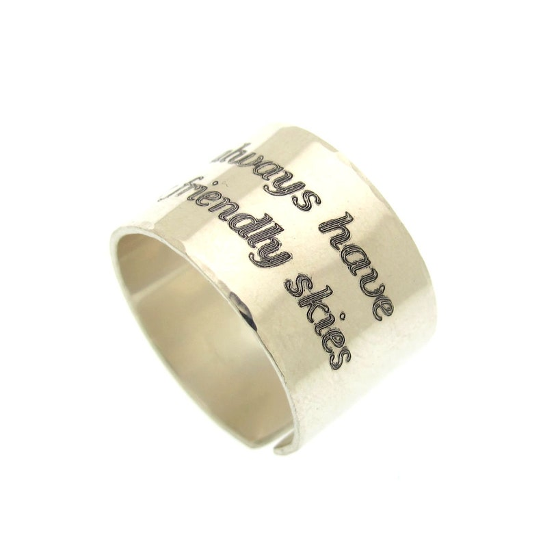 Gift for boyfriend inspirational Ring Engraved Sterling Silver Ring For men Personalized Mens Ring Wide Mens Ring Men Wedding band