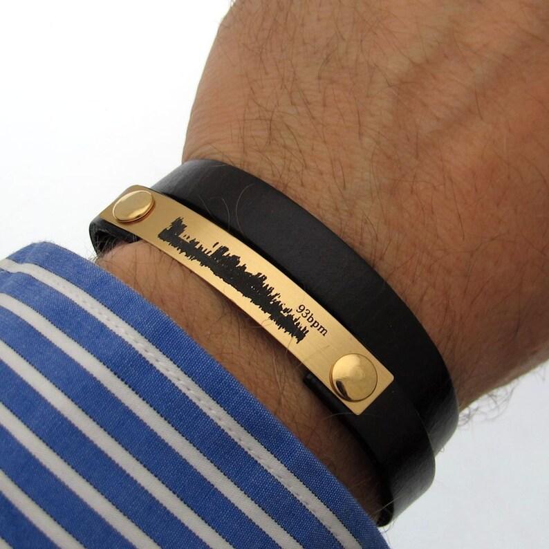 906e3ffd0368e Mens Bracelet, Baby Heartbeat Bracelet for Men Personalized Men's Leather  Bracelet, new dad gift Custom Mens Gift Mens Jewelry Boyfriend