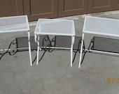 VINTAGE Set of 3 Salterini Inspired Mid Century Heavy Wrought Iron Nesting Patio Tables - FREE SHIPPING