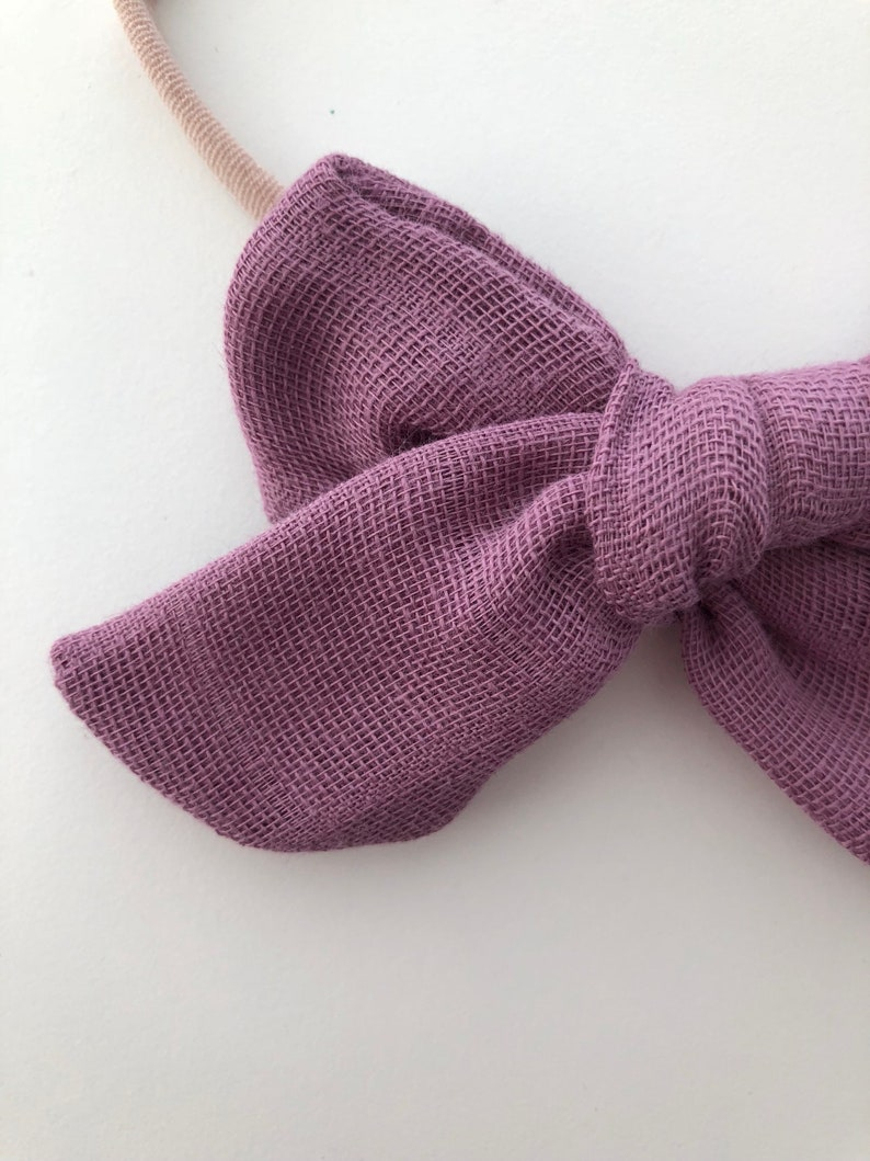 Nylon Headband or Clip In Dusty Violet Newborn to Child Double Gauze Baby Bow