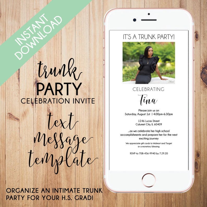 Trunk Party  EDITABLE Trunk Party Invite  Digital Invite  Party Evite  Text Template  Electronic Invite  Graduation  College Bound