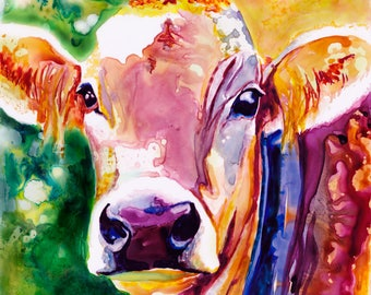 Cow Watercolor Fine Art Print on Paper, Metal, or Canvas [Watercolor Cow Print Cow Painting Cow Art Abstract Cow Watercolor Cow Art]