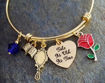 9f9718289 Gold Tone Beauty and the Beast Tale As Old As Time Charm Themed Disney Inspired  Bangle Princess Bracelet Red Rose, Belle Beast Mirror Book