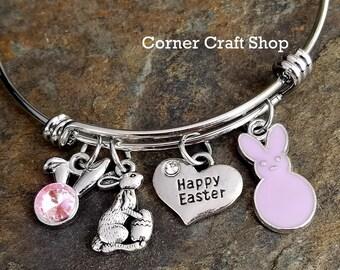 Happy Easter Bunny Peep Charm Bangle Bracelet Heart Pink Gem Bunny Ears Egg You Choose Color orange yellow blue green purple