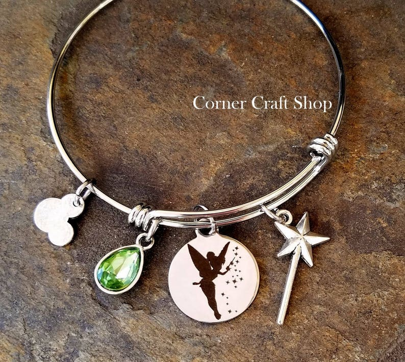Peter Pan TInkerbell Ride Disney Inspired Stainless Steel BANGLE CHARM BRACELET Wand Green Gem Mickey Mouse Charm