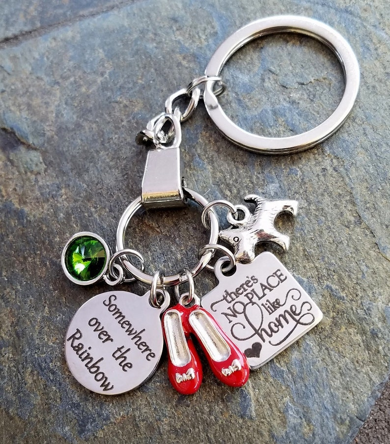 Personalized Wizard of Oz Somewhere Over the Rainbow Movie Inspired Dorothy There/'s No place like home Toto dog Keychain keyring Oz green