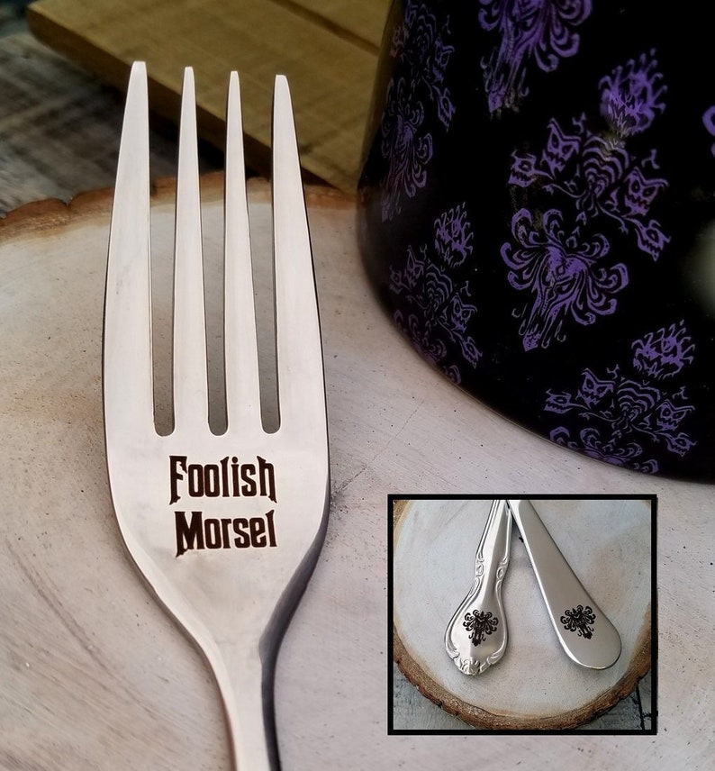 Her  Foodie Gift Funny Gift Fancy or Plain styles Disney Fan gift Gifts for Him Foolish Morsel Haunted Mansion Theme Engraved Fork