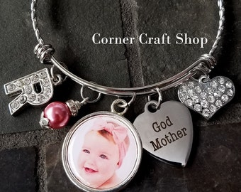 God Mother Godmother Personalized Photo  Stainless Steel  Bangle Bracelet  Pearl Bead, Initial Bead  Heart Charm Gift God Child Photo