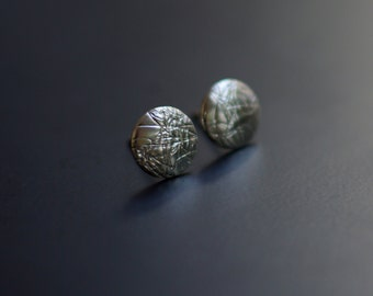Sterling Silver Earrings, Ear Studs, Circle, Textured, Modern, Contemporary