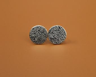 Sterling Silver Earrings, Orange Skin, Textured, Ear Studs, Modern, Contemporary, Minimal, Circle