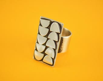 Modernist Ring, Sterling Silver Ring,  Modern, Mid Century, Brutalist, Contemporary, Statement