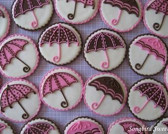 Baby Shower Umbrella Cookies, Bridal Shower Umbrella Cookies, Polka Dot & Patterned Umbrella Cookies ( 1 Dozen)