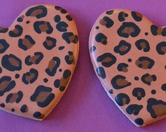 Leopard Print Heart Cookies, Valentine's Day Cookies (1 Dozen)