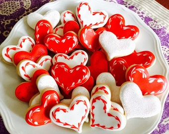 Itsy Bitsy Valentine Heart Cookies, Valentine's Day Mini cookies (2 Dozen)
