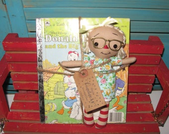 "Tiny 8"" Blonde Raggedy Ann-Raggedy Annie-Doll With Glasses-and Donald DUCK-Little Golden Book Set"