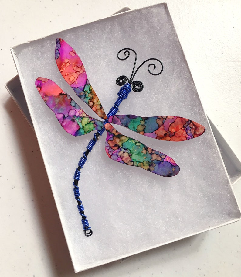 one of a kind beautiful hand painted wings bereavement gift spiritual token, wire art dragonfly dragonfly pin holiday gift