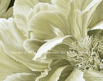 Original Oil Painting Antique Tree Peony in Khaki Monochrome by J. L. Fleckenstein 2010 24 by 48 inches