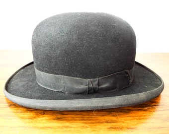 7298303c913 Original 1930s Gentlemans Derby Bowler Hat Crosby   Co Size 6 7 8 Evening  Wear