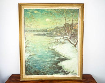 Vintage Signed Oil Painting by Ragnar Swahn Green Water Tree Snow Swedish Art