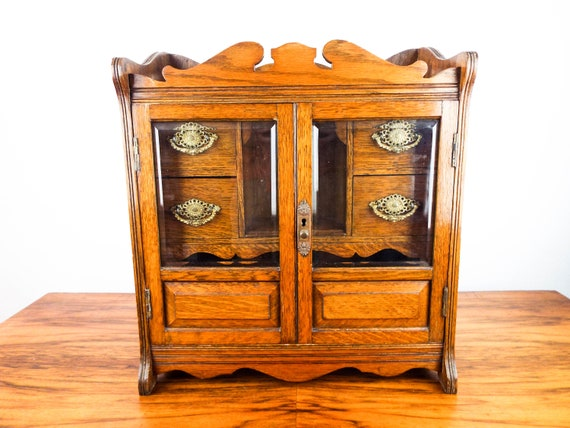 image 0 - Antique Wooden Cigar Humidor Hanging Wood Smoking Cabinet Etsy