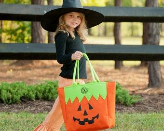 Pumpkin Trick or Treat Bag, Monogram Halloween Tote, Personalized Trick or Treat Bag, Jack o Lantern Halloween Tote Bag, Halloween Candy