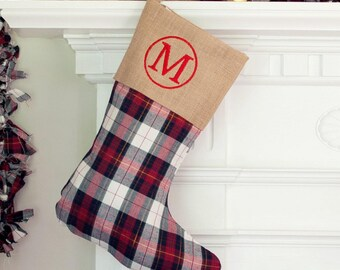 monogram stocking plaid plaid stockinginitial christmas stocking personalized christmas stockings embroidered christmas stockings