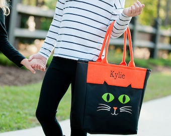 Trick or Treat Bucket, Monogram Halloween Tote, Personalized Trick or Treat Bag, Cat Halloween Tote Bag, Halloween Candy Bag