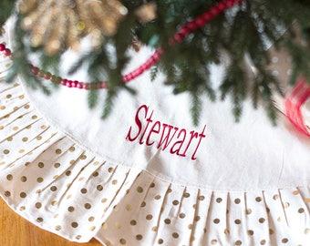 Personalized Christmas Tree Skirt, Gold Dot Monogram Tree Skirt, Classic Christmas Tree Skirt, Embroidered Tree Skirt