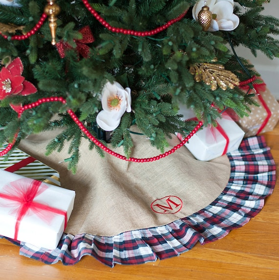 image 0 - Plaid Christmas Tree Skirt Monogram Personalized Christmas Etsy