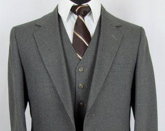 Vintage Gray Grey Pinstripe Mod Indie Vested 3 Piece Suit 40 R