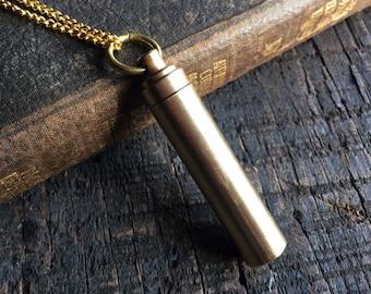 Secret Capsule Necklace - Poison Pill Box - Metal Bottle - Gold Brass