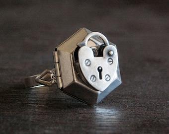 Poison Ring Locket - Silver Heart Hexagon Secret Compartment