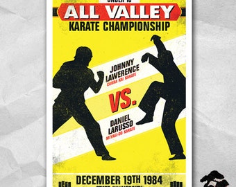 Karate Kid Fight Night Poster - 12 x 18 inches - Karate Kid - Daniel Larusso - Johnny Lawerence