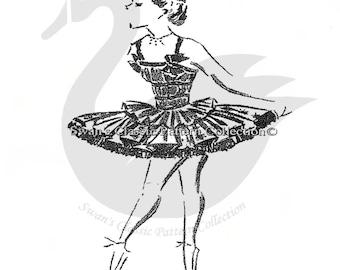 Vintage Girls Ballet Tutu Sewing Pattern Size 10years PDF