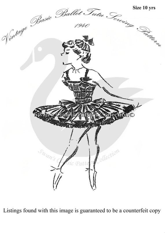 Vintage Base Ballet Tutu Disfraz patrones De Costura Talla 6