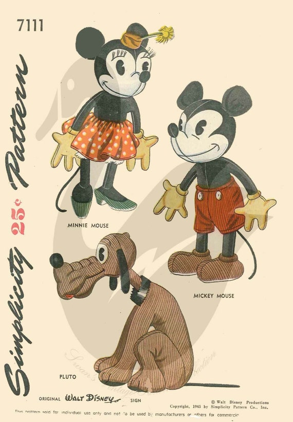 Mickey und Minnie Mouse und Pluto Puppe Schnittmuster | Etsy