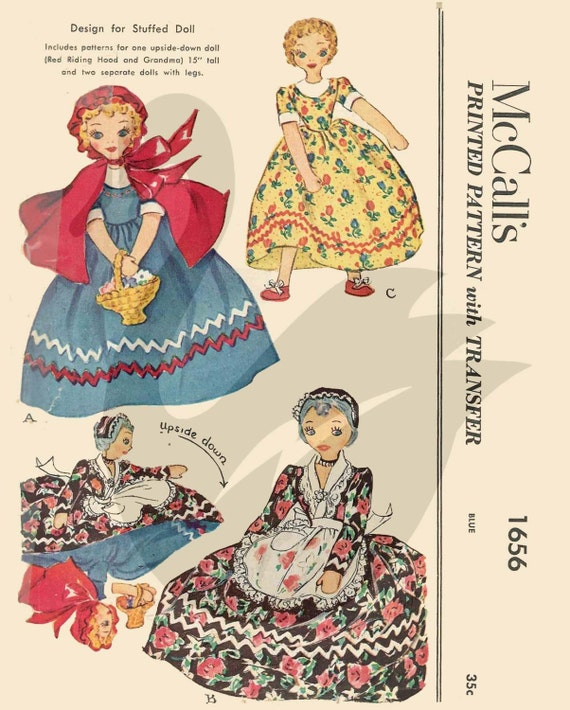 VINTAGE MAIL ORDER Topsy Turvy Doll Sewing Pattern 455