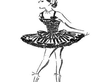 Vintage Girls Ballet Tutu Sewing Pattern Size 10yrs